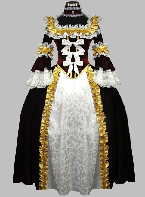 Chocolate & White Luxury Victorian Era Dress Party Dress Cosplay Dress