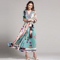 Classic Dresses Women Fashion V Neck Lantern Sleeve 2017 Autumn Color Patchwork Flowers Print Hot Sale