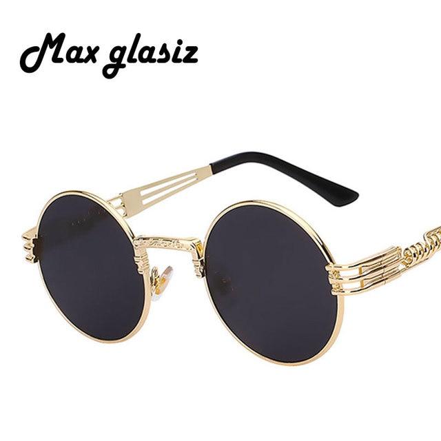 22a2dc39ea43e Homens marca rodada óculos de sol 2017 Nova prata do metal do ouro do  vintage pequeno