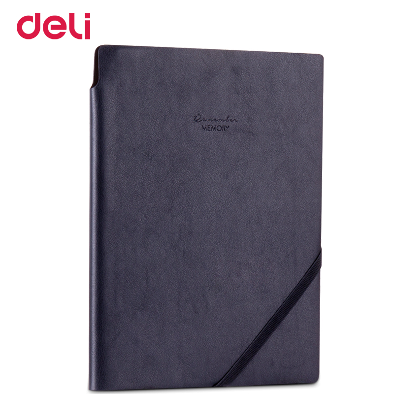 Deli classic soft PU leather cover business notebook for school office writing supply  elegant travel diary book customise Logo classic notebook vintage