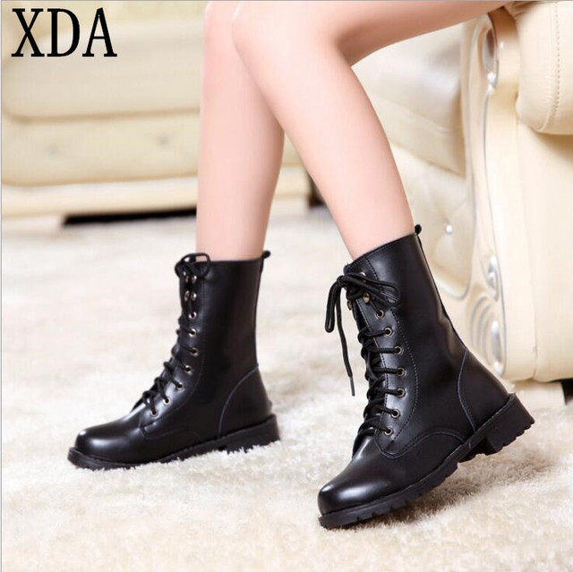 XDA 2017 New Arrival Combat Military Boots Women s Motorcycle Gothic Punk Combat  Boots Female Shoes Size 35-42 W86 cfe441c50