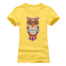 NEW 2018 Owl Printing T shirt Women Fashion Summer Women T-Shirt Streetwear Cotton top tees red black grey(China)