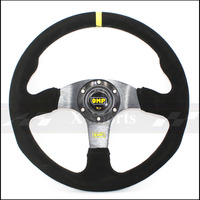 OMP car Sport steering wheel racing type High quality universal 14inches 350MM Aluminum suede black Free shipping
