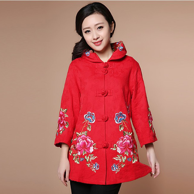 Cotton Linen Embroidered Flowers Mother Dress Trumpet Sleeve High Collar Chinese National Wind Winter Long Section Plate Button