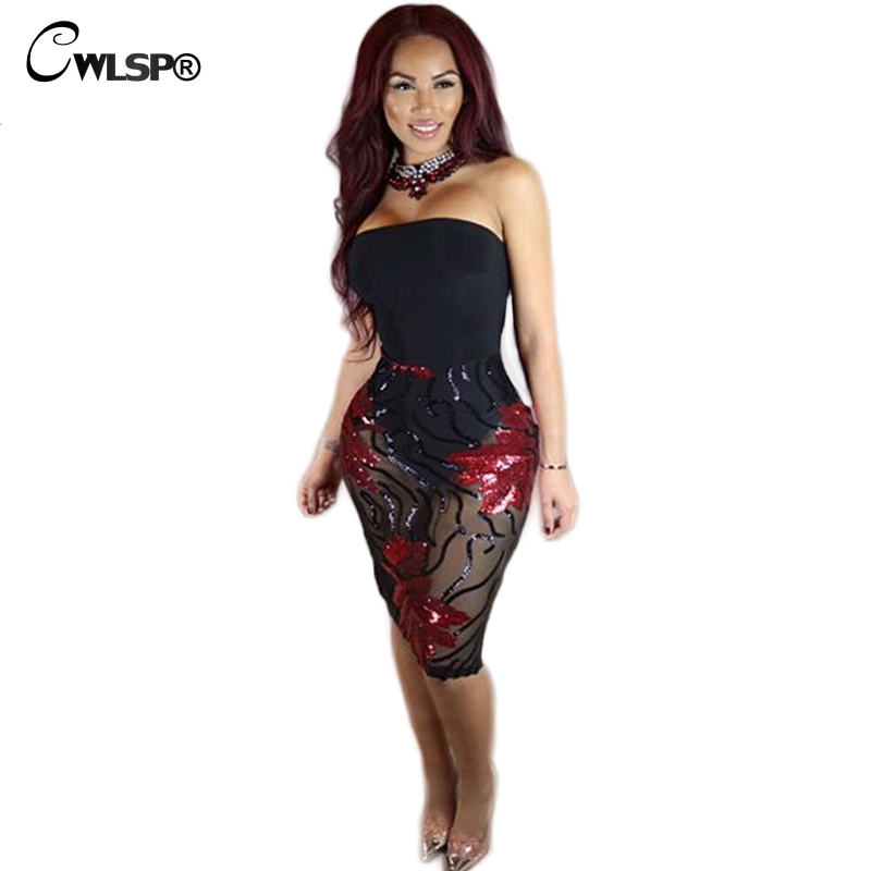Buy Cheap CWLSP Elegant Sequined Patchwork Dresses Women strapless Black Mesh Night Club Wear Dress Femme Evening Party Vestido QZ1936