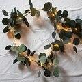 Hera folhas de Eucalipto 1.8 m luzes de fadas levou luzes da corda guirlanda, guirlanda de casamento decoração de casa, mini led luzes de cobre