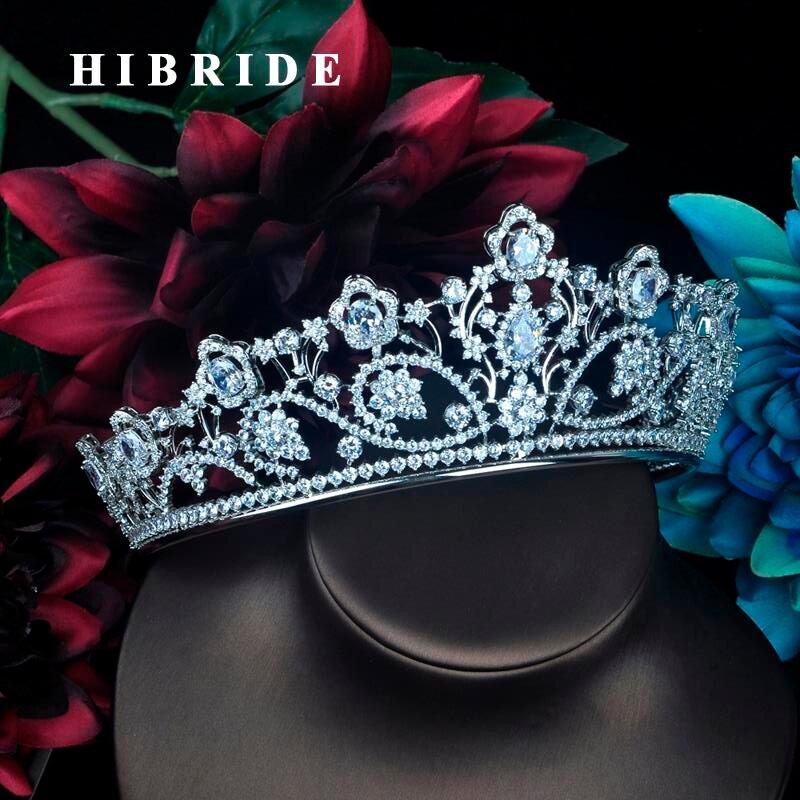 HIBRIDE Full Cubic Zirconia Crown Bridal Hair Accessory Wedding Rhinestone Waterdrop Tiaras Bridesmaid Hair Jewelry C
