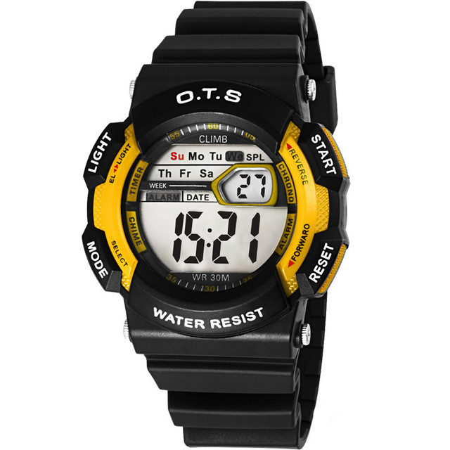 O.T.S Children Sports Watches Students LED Digital Watch Fashion For Boys And Girls Multifunctional 50M Waterproof Wristwatches children watches for girls digital smael lcd digital watches children 50m waterproof wristwatches 0704 led student watches girls page 2
