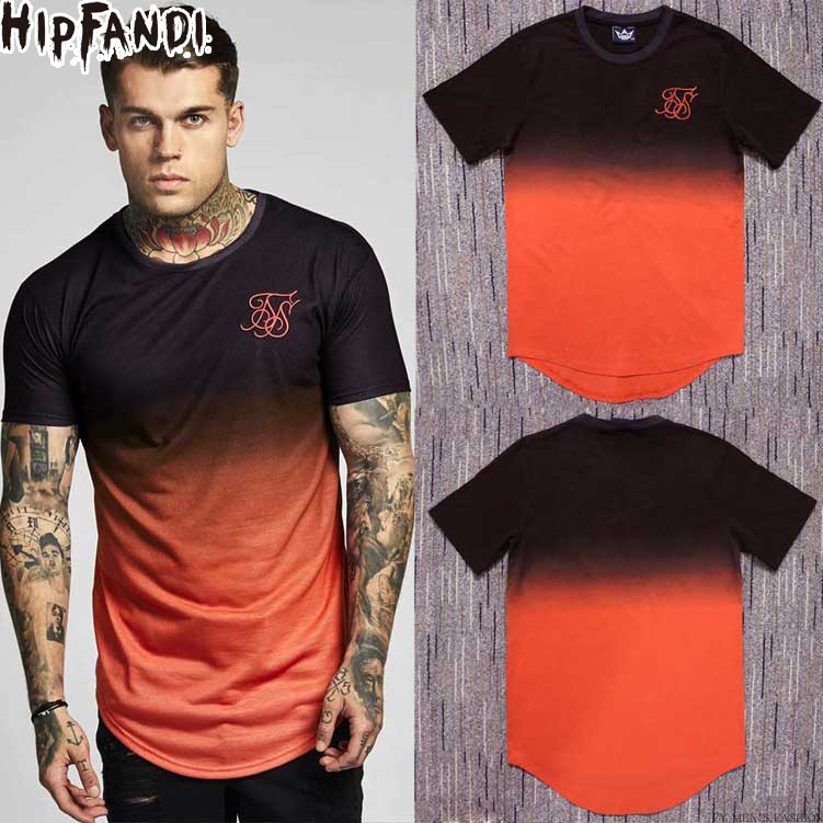Mens Street Fashion Hip hop Swag Tyga Jay-z SS Kanye West Gradient Dye Contrast color short sleeve Cotton Curve   T     shirt