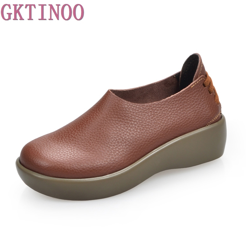 New 2017 women genuine leather shoes woman Full grain leather cowhide women flats fashion round toe platform women's shoes 2016 new fashion camellia women genuine full grain leather flat heel single shoes ladies working leather flowers ballet flats
