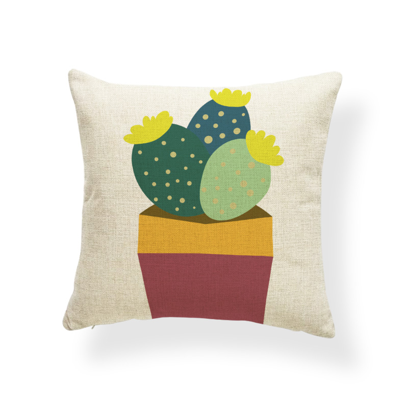Plant Cactus Star Cushion Case Flower Love Stripe Pillows Oriental Dorm Baby Birth Gifts Pillowslip Covers Green 45*45 Linen Fun