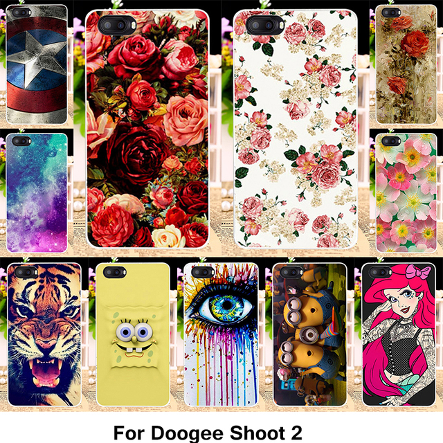 TAOYUNXI Silicone Phone Cover Case For Doogee Shoot 2 Shoot2 5.0 inch Cover Fundas Soft TPU Case Flowers Rose Cat Housing Bag