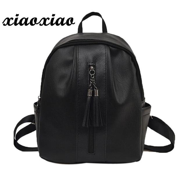 Luxury Woman PU Leather Korean Fashion Backpack School bag Tassel Backpacks  For Teenage Girls Mochila Escolar Menina 8b221dc10df42