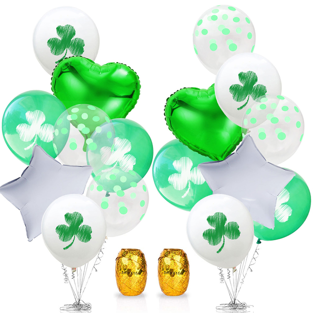 1st Saint Patrick 's Day Sequins Aluminum Foil Latex Clover Flag Green Grass Balloon St. Patrick 's Day Birthday Party Supplies 1