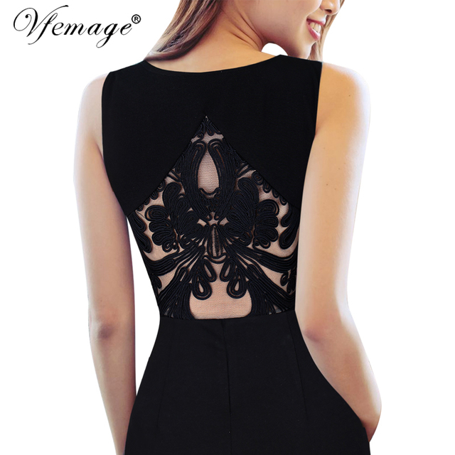 Vfemage Womens Embroidered Floral See Through Mesh Party Evening Mother of Bride Special Occasion Bodycon Dress 6426