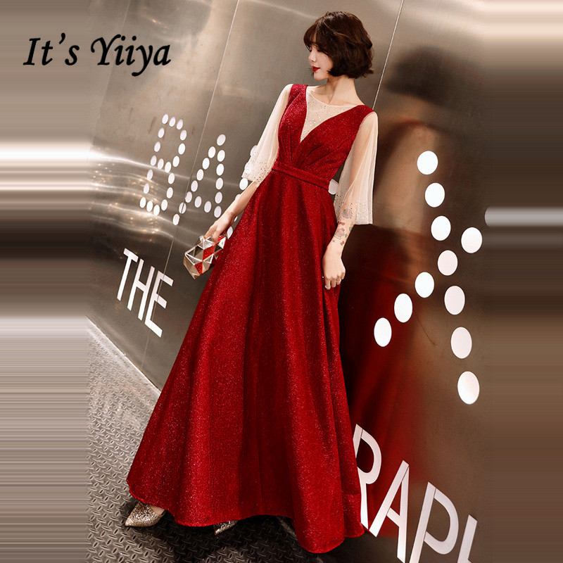 It's YiiYa   Evening     Dress   Crystal O-neck Half Sleeve Formal Gown Illusion Shining Velour Ruched Long Party   Dresses   E108