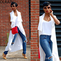 Olrain New Outono Mulheres Branca Sem Mangas Lapela Vestido Longo Camisa Casual Solto Longa Tops T-shirts