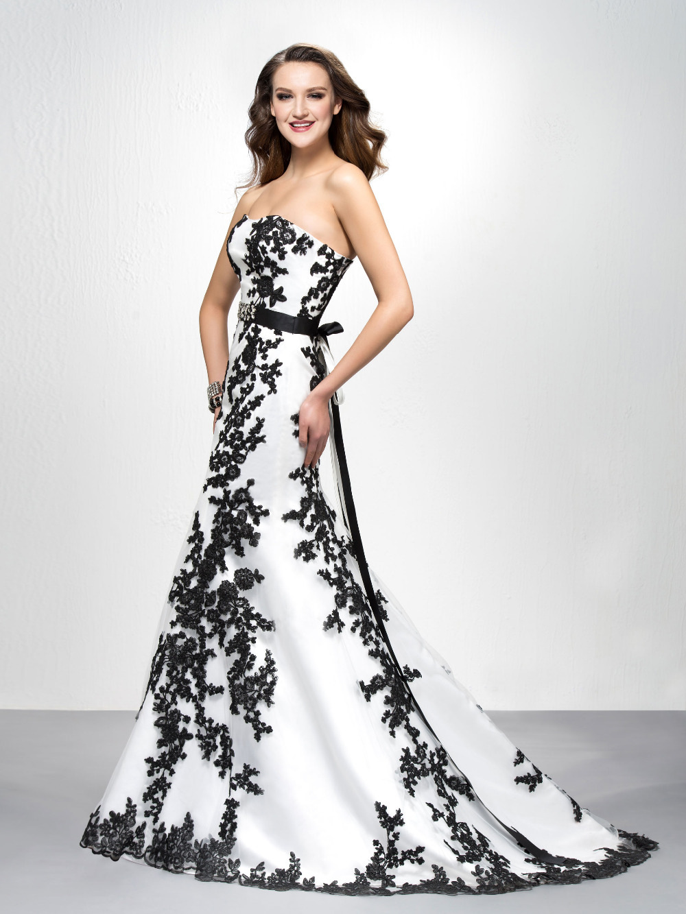 Online Get Cheap Mermaid Prom Gowns White and Black Prom Dress ...
