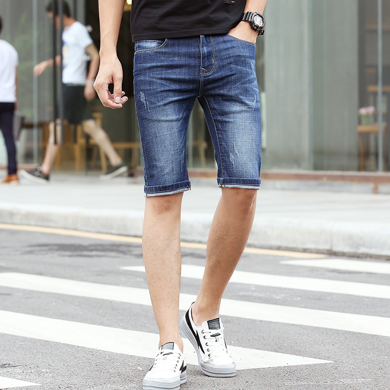 Hot Sale 2018 New Mens Summer Stretch Lightweight Thin Short Denim Pants Pure Color Scratched Short for Men W003