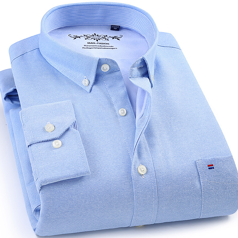 Winter Mens Work Shirts Striped Solid Color Long Sleeve Social Men