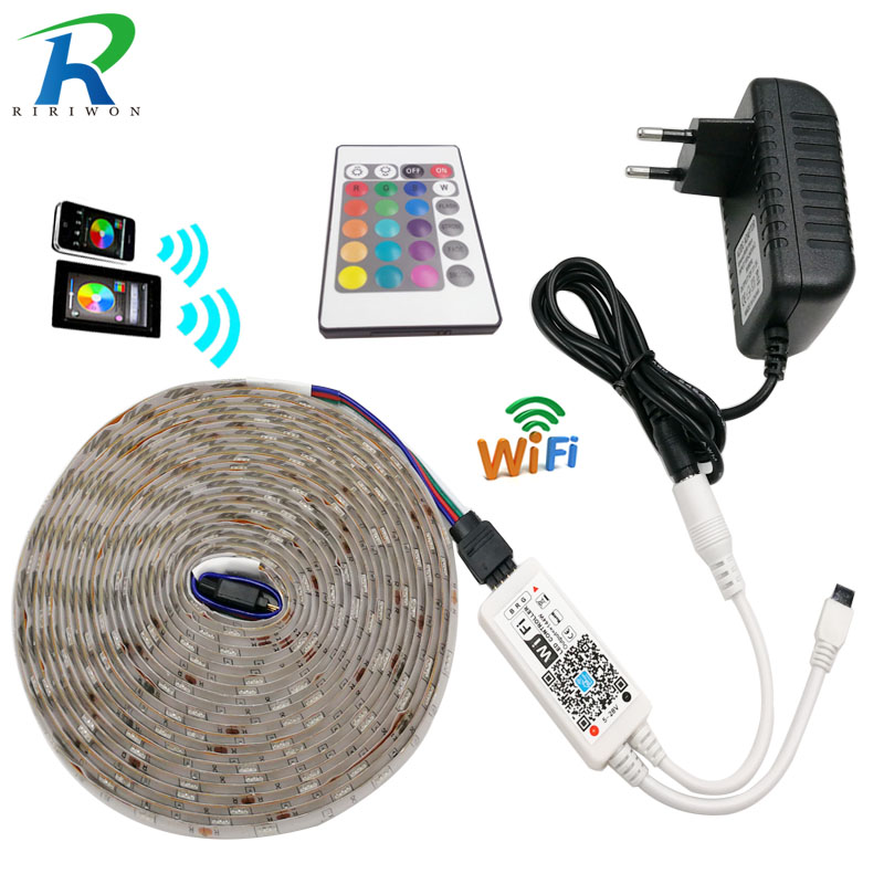 RiRi won SMD RGB LED Strip led light 5050 DC 12V Waterproof led light tape diode flexible ribbon WiFi controller adapter set 10m 5m 3528 5050 rgb led strip light non waterproof led light 10m flexible rgb diode led tape set remote control power adapter