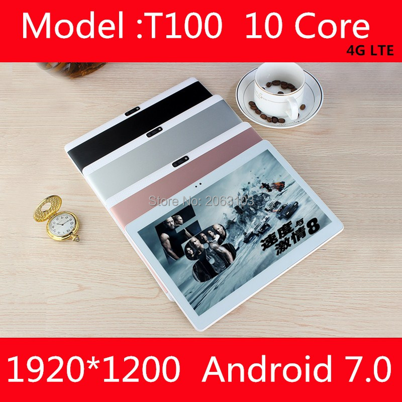 10.1 pouces tablet pc Deca 10 core MTK6797 3G 4G GPS Android 7 4 GB 64 gb/128 gb Phablet Pc 10 Double Caméra 8.0MP 1920*1200 IPS écran