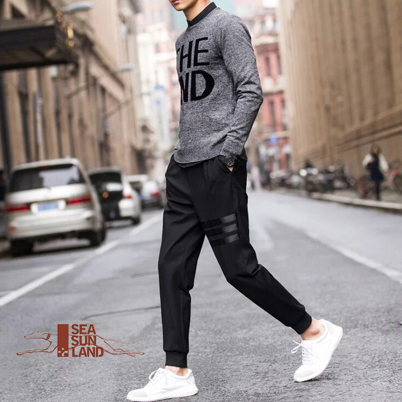 2db864346c4 SeaSunLand Casual Pants Men Sweatpants Male Cotton Sportswear elastic  Trousers Straight Pants Hip Hop High Street Trousers Pants