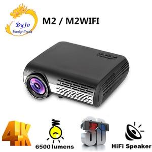 Image 1 - Poner saund M2 led 4 18k 2 18k 1080 1080p フル hd プロジェクター 6500 ルーメン 3D ホームシアター android 6.0 bluetooth 5 3g wifi hdmi usb av vs led 86