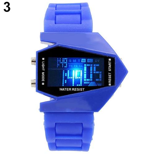 Cool Men's Oversized Design Light Digital Sports Plan Shaped Dial Electronics Wrist Watch Relojes 11