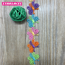 3yards 2.5cm colorful butterfly water soluble polyester silk lace trim fabric ribbon clothes DIY decoration accessories.
