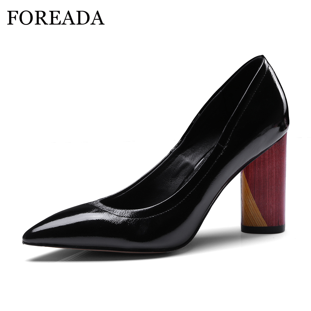 FOREADA Genuine Leather Shoes Women Pumps Sexy High Heels Patent Leather Shoes Spring Pointed Toe Slip On Shoes Yellow Black artmu women high heels shoes two kinds of wear methods shoes female handmade leather shoes women pumps slip on shoes