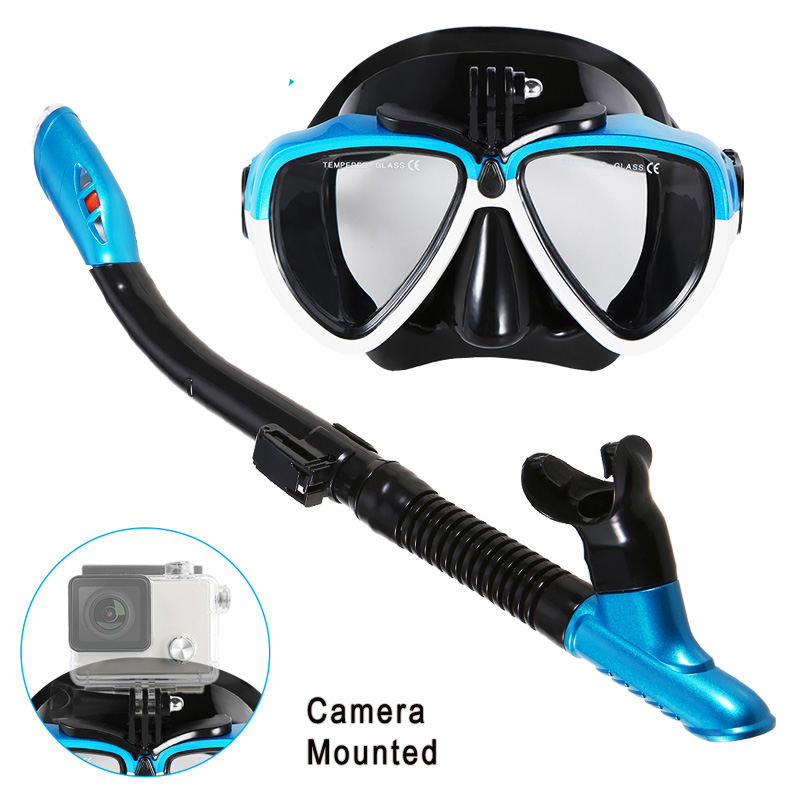 Lixada Anti-Fog Swimming Mask Snorkel Diving Mask Scuba Diving Mask Underwater Snorkel Mask Diving Equipment With Camera Mount image