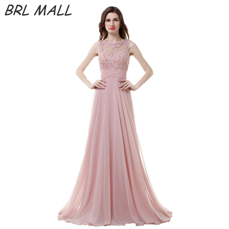 BRLMALL New Pink Lace Appliques   Prom     Dresses   2017 Beaded Crystal Party   Dress   Chiffon A-Line Long Evening   Dress   vestido de festa