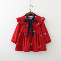 Lolita Wholesale Embroidery Clothes Princess Full Sleeve Baby Girls Clothing Children Spring Autumn Flower Floral Dress 6pcs/LOT
