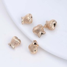 10PCS 8.5MM 24K Champagne Gold Color Plated Brass Flower Bud Beads Spacer High Quality Diy Jewelry Accessories