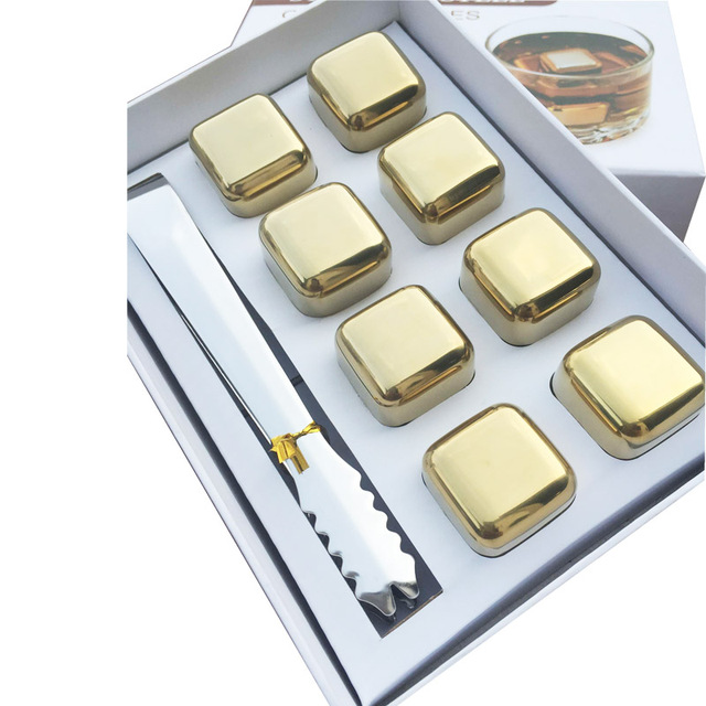 Golden Steel Whisky Cubes 8 Pcs Set