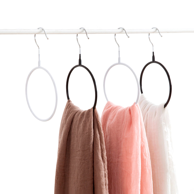 2pcs/lot PVC Multifunctional Scarf Towel Hangers Shawl Clothing Wardrobe Storage Rack Annulus Holders Shelf Accessories Supplies
