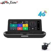 WHEXUNE 8 ''Android Full HD 1080 P 4G Автомобильный видеорегистратор gps навигация ADAS видеокамера рекордер двойной объектив Автомобильный детектор удаленн