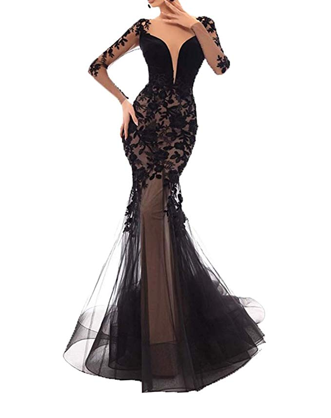 2019 Sexy Lace Appliques Mermaid Prom Dresses Long Sleeves Evening Dress Formal Gowns Vestidos De Fiesta De Noche in Evening Dresses from Weddings Events