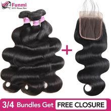 дешево!  Купить Пучки объемной волны Получите бесплатное закрытие Плетение бразильских пучков волос Funmi  Луч�