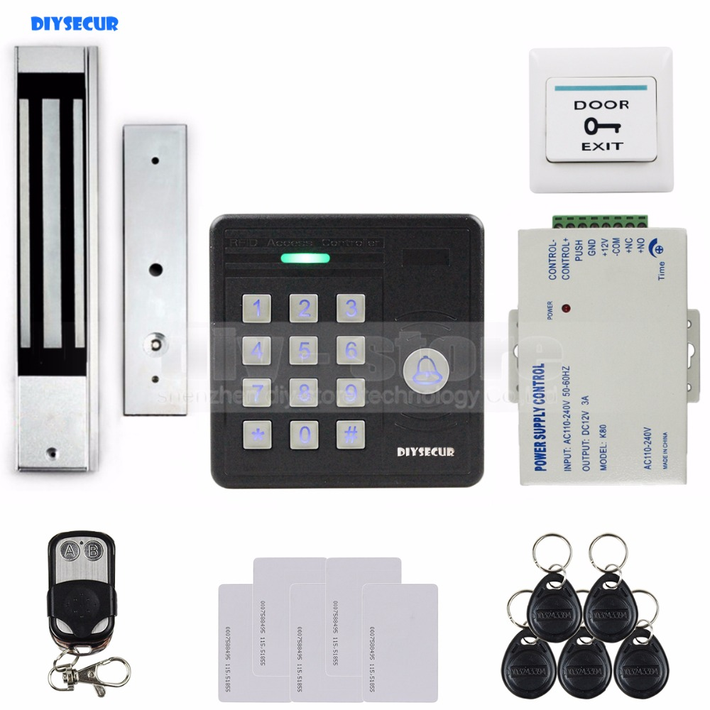 DIYSECUR Waterproof 125KHz Rfid Card Reader Access Control + 280Kg Waterproof Electric Magnetic Lock Access Control Security Kit diysecur waterproof 125khz rfid card reader access control 280kg waterproof electric magnetic lock access control security kit