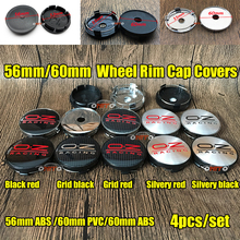 4pcs/set 56mm 60mm ABS black/Chrome Base OZ Logo O.Z racing Sticker Car Wheel Center Cap Accessorie Auto Centre Hub