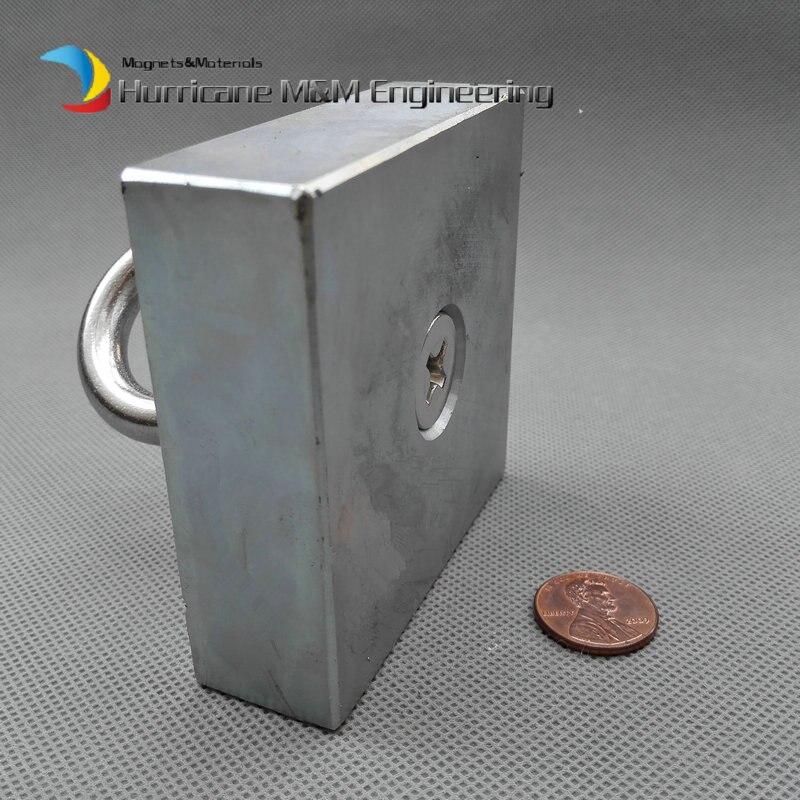 Большой блок неодимовый Магнит монтаж подъемно 73x73x23 мм М10 винт с потайной отверстия блока n52 сильный неодимовый редкой Земли Магнит