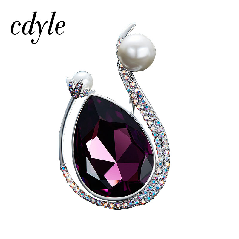Cdyle Crystals from Swarovski Classic Brooches Women Fashion Simple Austrian  Rhinestone Jewelry Purple Color Swan Shape Jewelry -in Brooches from Jewelry  ... 2224e8e9ffa0