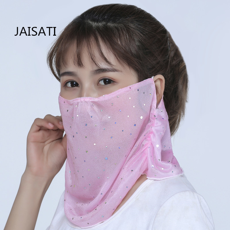 JAISATI New sequins large neck protection UV veil sunscreen masks dustproof fashion breathable mask jaisati sunscreen veil summer dust masks breathable cycling driving neckscreen thin mask