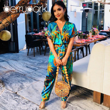 644b2458515c BerryPark 2019 Summer Women Leaf Print Causal Loose Jumpsuits V Neck Short  Sleeve