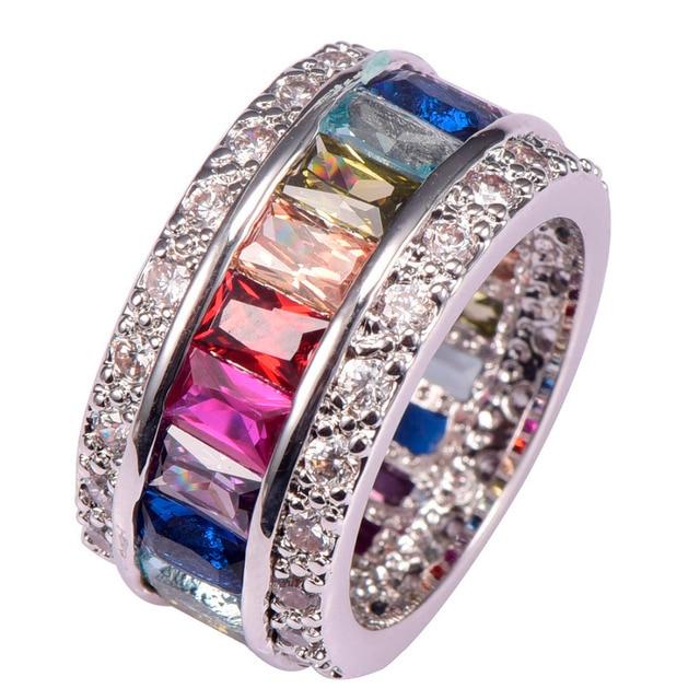 Morganite Garnet Blue Crystal Zircon 925 Sterling Silver Engagement Wedding Ring Size 6 7 8 9