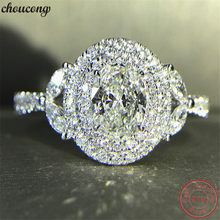 choucong Handmade Genuine 925 sterling Silver Flower Promise Ring AAAAA cz Engagement Wedding Band Rings For Women Jewelry Gift(China)