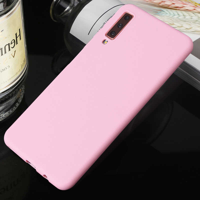Matte Phone Case For Samsung Galaxy A7 A6 A8 Plus A5 A9 Star Lite A8S A6S Simple Solid Silm Soft TPU Case Candy Color Back Cover