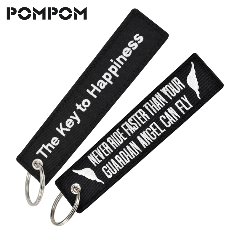 POMPOM The Key To Happiness Keychains For Car And Motorcycles Key Tags Stitch OEM Keychains Keyring Motor Sleutelhanger Jewelry